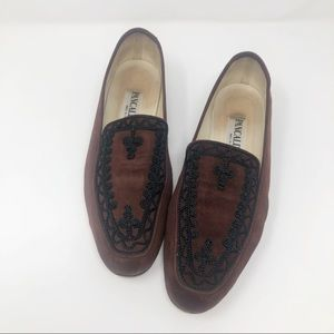 Pancaldi Burgundy Suede Embroidered Flats 9.5